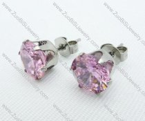 3mm Clear Pink Zircon Stainless Steel earring JE220007