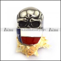 Enamal Flag Skull Badass Ring for Bikers r003823