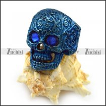 Blue Stainless Steel Flower Skull Ring with Blue Eyes r004314