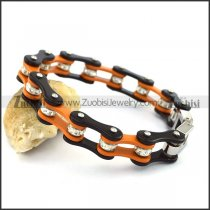 Black Outside and Orange Inner Bike Chain Bracelet b004275