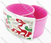 Stainless Steel Pink Leather Bracelet - JB400033