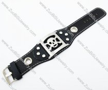Stainless Steel Skull Leather Bracelet -JB140044