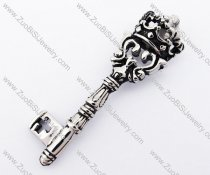 Stainless Steel Crown Key Pendant - JP420021