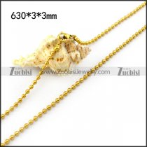 3mm Gold Tone Stainless Steel Ball Chain n001522