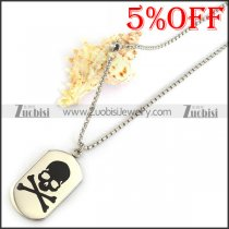 Black Skullbone Dog Tag Chain n001305