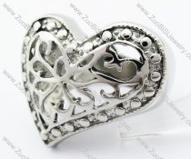 Stainless Steel Casting Heart Ring - JR050045