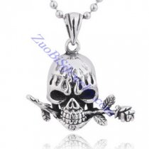 romantic skull head pendant with a rose flower JP350043
