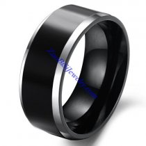 8mm Wide Black Tungsten Ring with Steel Edges JR490005