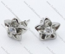 Silver five-pointed star Stainless Steel earring - JE050018
