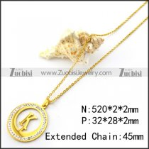 Gold Plating Initial K Pendant Chain n001700