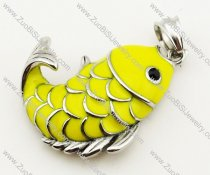 Stainless Steel Yellow Epoxy Fish pendant - JP090319