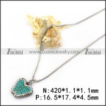 Ball Chain Necklace with Light Blue Butterfly n001738