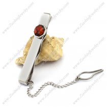 Stainless Steel Tie Bar Clip with Faceted Red Stone t000088