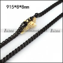 8mm Wide Black Plated Stainless Steel Chain n001350