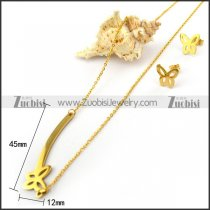 14K Gold Platied Butterflies Earrings and Necklace Set s002039