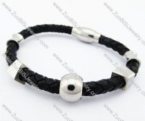 Stainless Steel Six Charms Leather Bracelet - JB400035