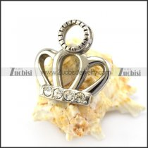 Polishing Steel Crown Pendant with Rhinestones p005538
