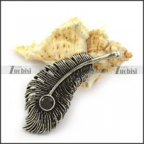 Carbon Black Rhinestone Feather Pendant in Stainless Steel p004215
