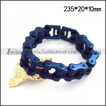 Blue Plating Stainless Steel Bicycle Chain Bracelet for Bikers b004822