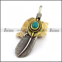 Retro Feather Penant in Gold and Silver with Turquoise p003040