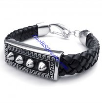 mens leather bracelets with one of a kind steel pattern JB480005