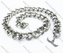 Double Skull Heads Stainless Steel Skull Large Link Necklace for biker 21.5 inch -JN170017
