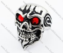 Red Stone Eyes Stainless Steel skull Ring -JR010224