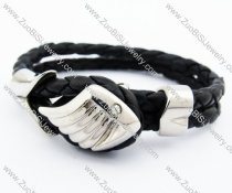 Stainless Steel 2 Lines Leather Bracelet with Angle Wing - JB400038