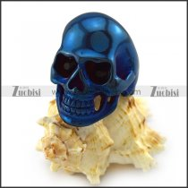 Black Rhinestones Eyes Skull Ring in Blue Plating r004290
