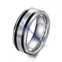 Steel Tone Tungsten Ring with 2 Black Lines in 0.8cm Wide JR490004