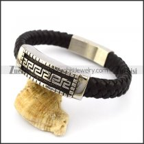 fashion handmade black real leather bracelet with great wall steel tag b005973