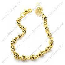 17 12MM Wide Gold Star Skull Wallet Chain with Dog Buckle y000013