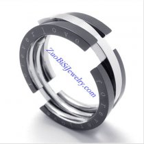 8mm Wide Black Flexible FOREVER LOVE Rings as Great Valentine Gift for Lover JR430008