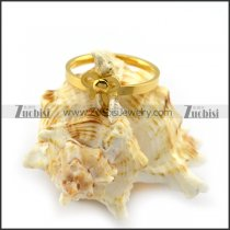 Yellow Gold Plating Steel Butterfly Ring for Girls r004452