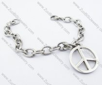 Peace Sign Charm Stainless Steel Link Chain Bracelet - JB200119