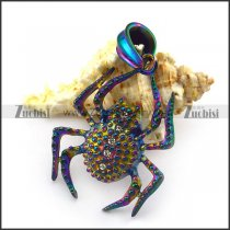 Big Colourful Spider Pendant with 4 Clear Rhinestones p004936