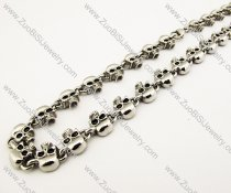 316L Stainless Steel Half Skull Biker Necklace 21.30 inch -JN170005