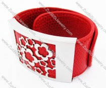 Stainless Steel Red Leather Bracelet - JB400029