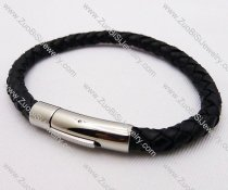 stainless steel black leather bracelet - JB030061