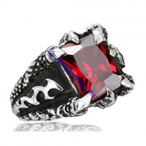 big square faceted clear red zircon casting ring JR350284