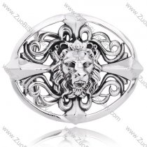 Oval Shaped Titanium Cross Lion Head Buckle For Men's Belt -JZ350008