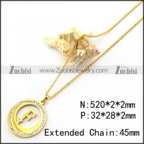 18K Gold Plating Initial F Charm Necklace n001695