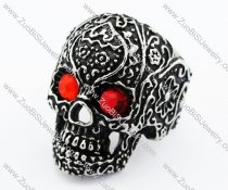 Black Stainless Steel skull Ring with 2 Red Eyes -JR010192