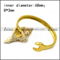 golden stainless steel casting spanner bangle b007004