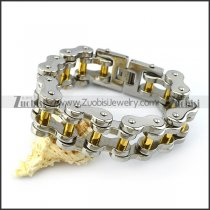 Silver Tone Motorcycle Chain Bracelet for Bikers in 25MM Wide with Golden Tube b005406