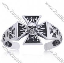 Big Fire Skull Stainless Steel Bangle - JB350063