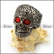 Dark Red Rhinestones Eyes Flower Skull Ring r004303