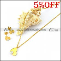Gold Heart Charm Chain Set in Stainless Steel s001928