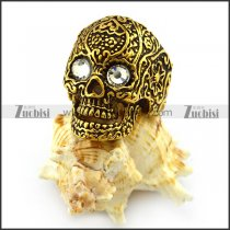 Antique Gold Plating Stainless Skull Ring with 2 Crystal Eyes r004300