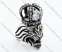 Stainless Steel crowned lion Ring - JR090287